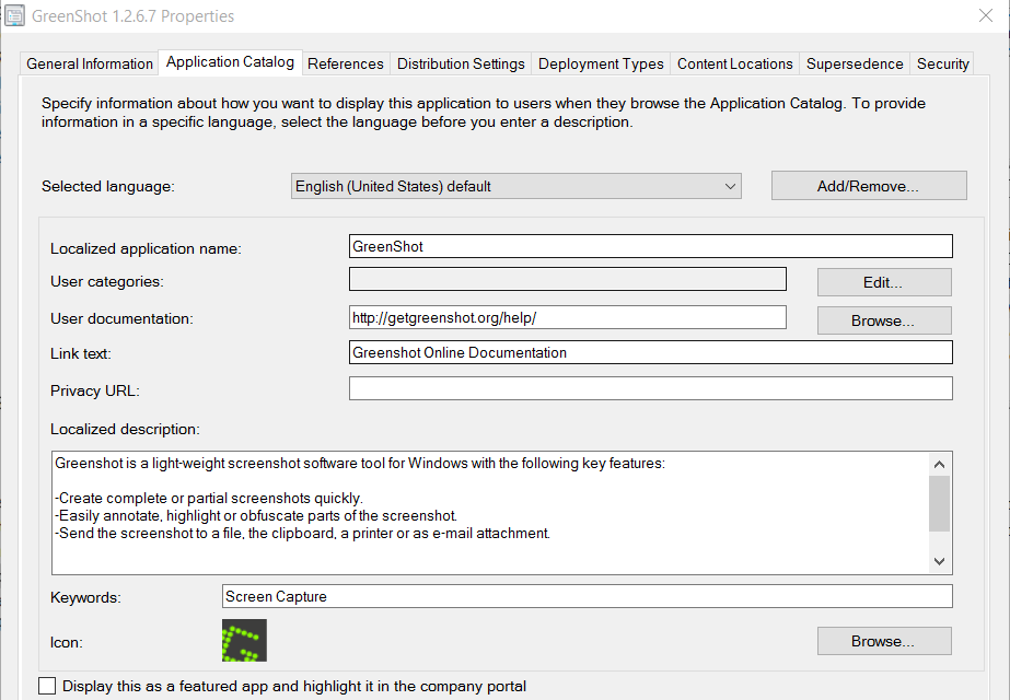 Automate GreenShot Deployment with ConfigMgr – GARYTOWN