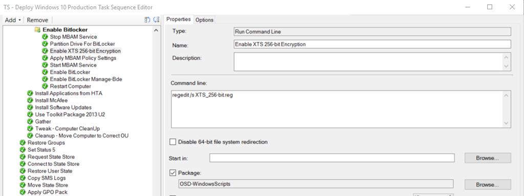 Enable Bitlocker XTS-AES 256 Full Disk Encryption during OSD