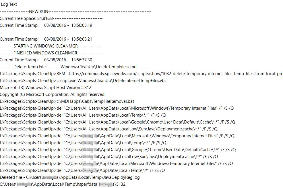 Temp File Cleanup–Windows, IE, Chrome, Java on All Profiles