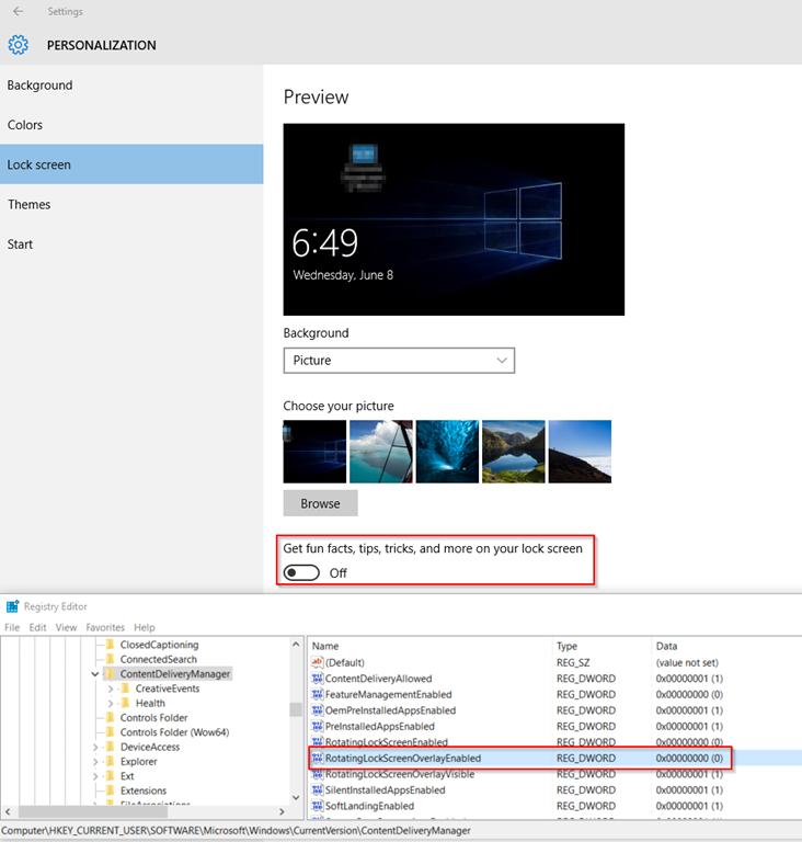 Windows 10 Lock Screen Not Changing