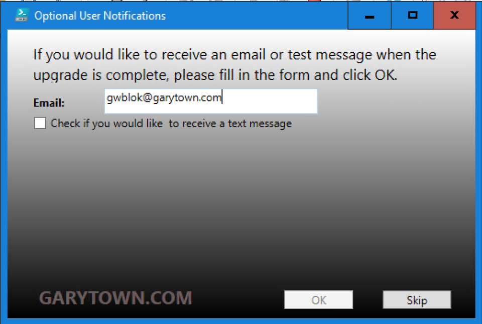 Send Text and Email to User from Task Sequence – GARYTOWN