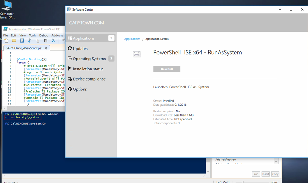 Run PowerShell ISE as System to Test scripts… From Software